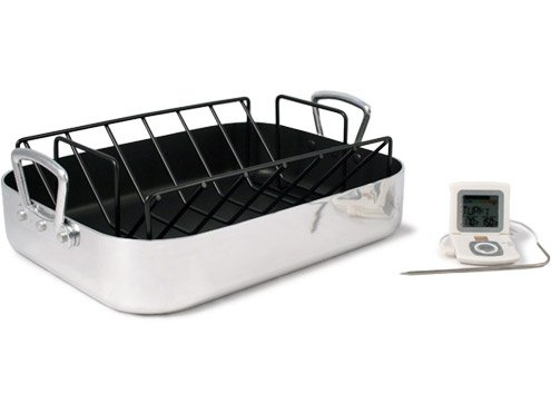 Non-stick pan with thermostat